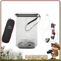 filtre guardian gravité MSR avec cartouche de filtration fibres creuses et poche à eau souple de 10 litres contre virus