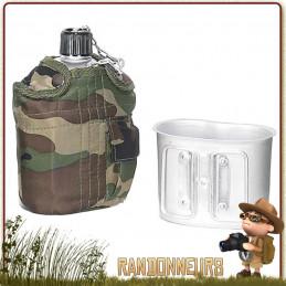 Set gourde aluminium armée us et sa housse polyester robuste camouflage, avec doublure isolante