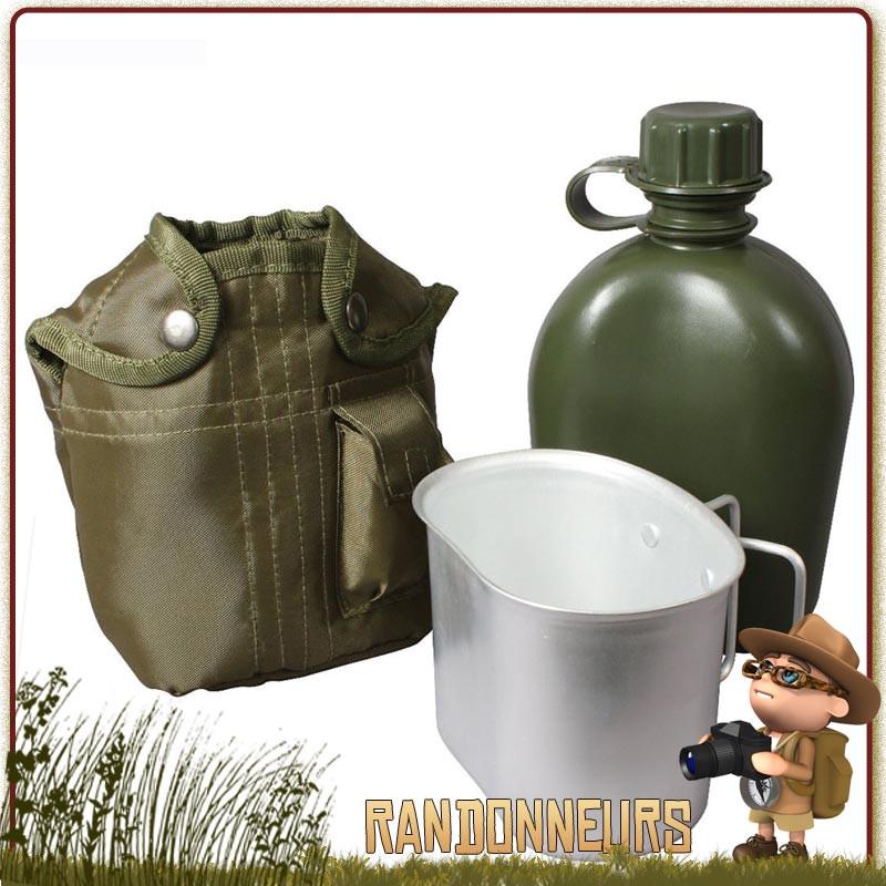 Set gourde plastique armée américaine type gi's et sa housse polyester robuste vert olive, et quart aluminium