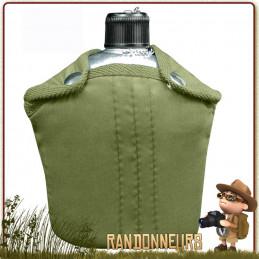 Gourde armée type GI's en alu aluminium. Gourde militaire de l'armée américaine avec housse porte ceinture
